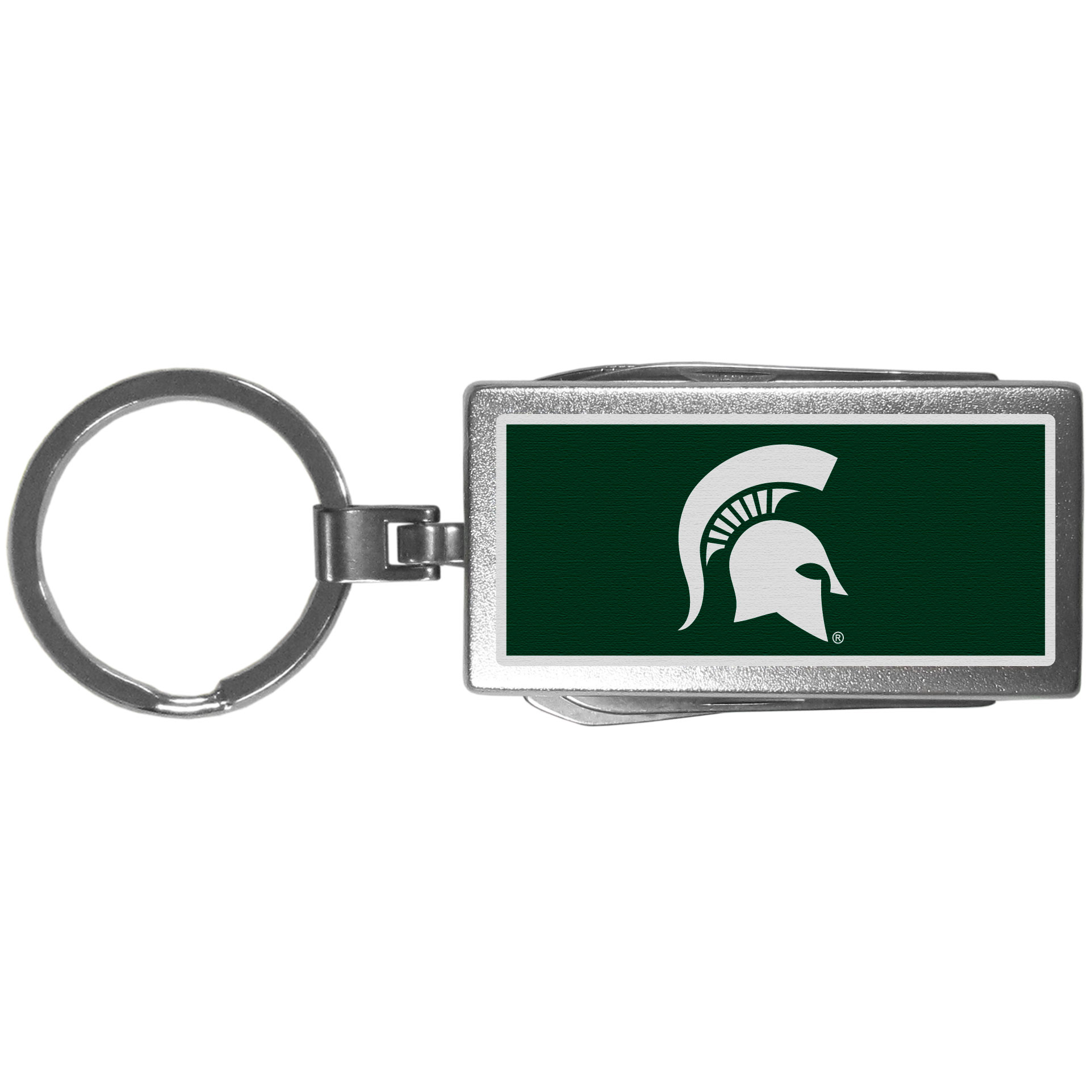 Michigan St. Spartans Multi-tool Key Chain, Logo - Be the hero at the tailgate, camping, or on a Friday night with your Michigan St. Spartans Multi-Tool Keychain which comes complete with bottle opener, scissors, knife, nail file and screw driver. Be it opening a package or a beverage Siskiyou's Multi-Tool Keychain goes wherever your keys do. The keychain hangs at 4 inches long when closed.
