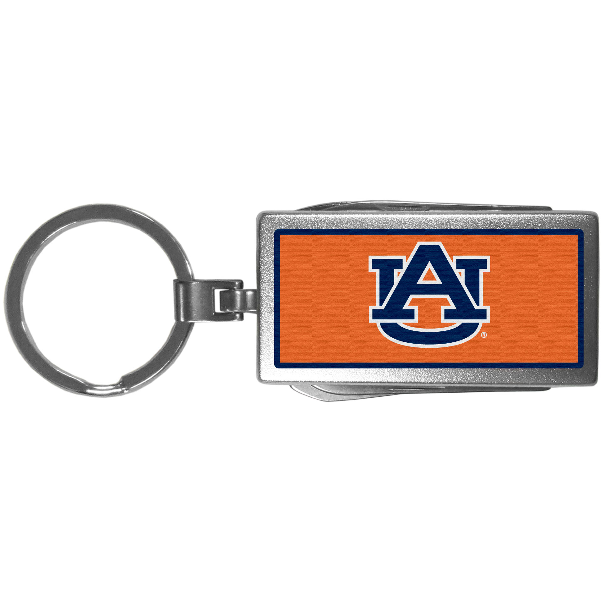 Auburn Tigers Multi-tool Key Chain, Logo - Be the hero at the tailgate, camping, or on a Friday night with your Auburn Tigers Multi-Tool Keychain which comes complete with bottle opener, scissors, knife, nail file and screw driver. Be it opening a package or a beverage Siskiyou's Multi-Tool Keychain goes wherever your keys do. The keychain hangs at 4 inches long when closed.