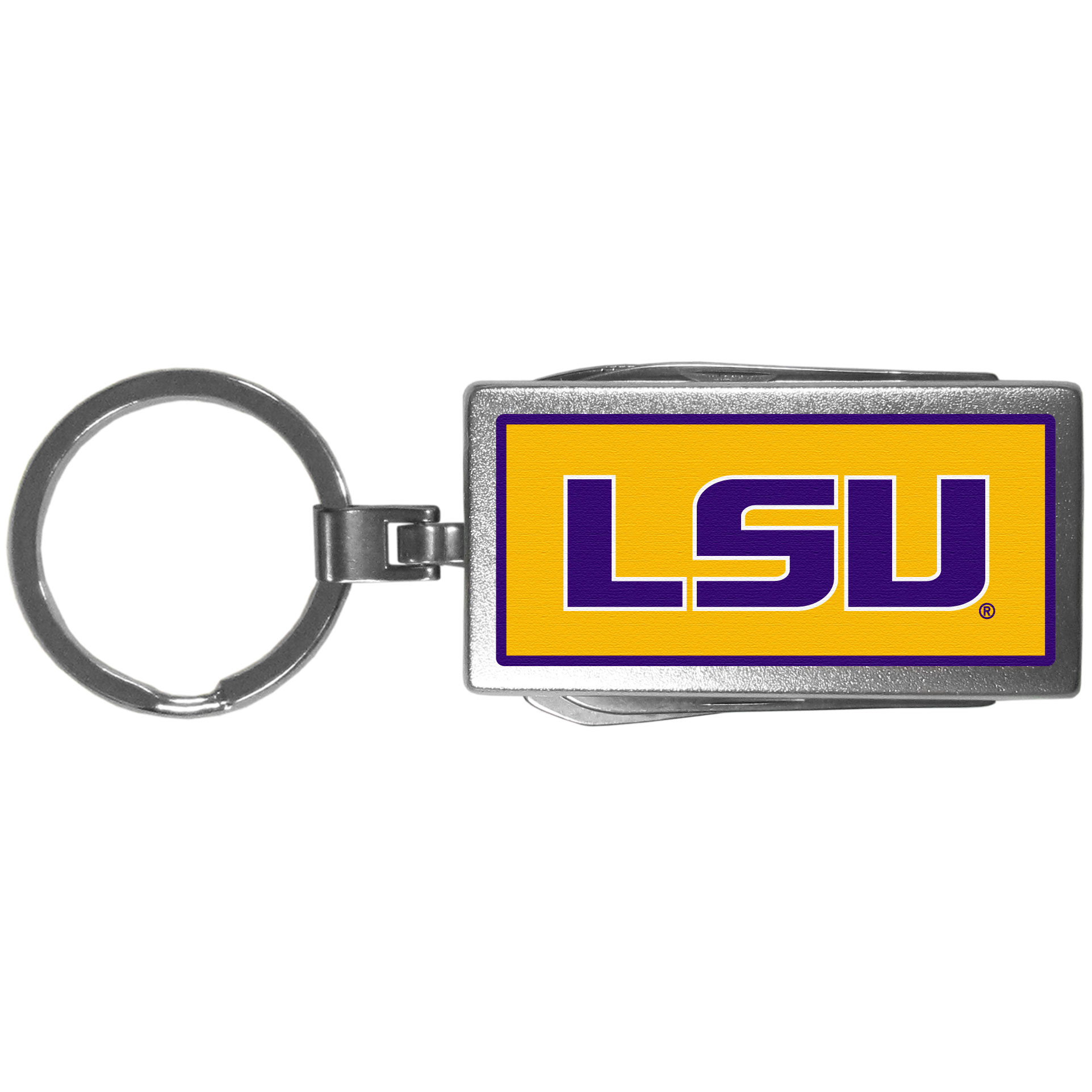 LSU Tigers Multi-tool Key Chain, Logo - Be the hero at the tailgate, camping, or on a Friday night with your LSU Tigers Multi-Tool Keychain which comes complete with bottle opener, scissors, knife, nail file and screw driver. Be it opening a package or a beverage Siskiyou's Multi-Tool Keychain goes wherever your keys do. The keychain hangs at 4 inches long when closed.