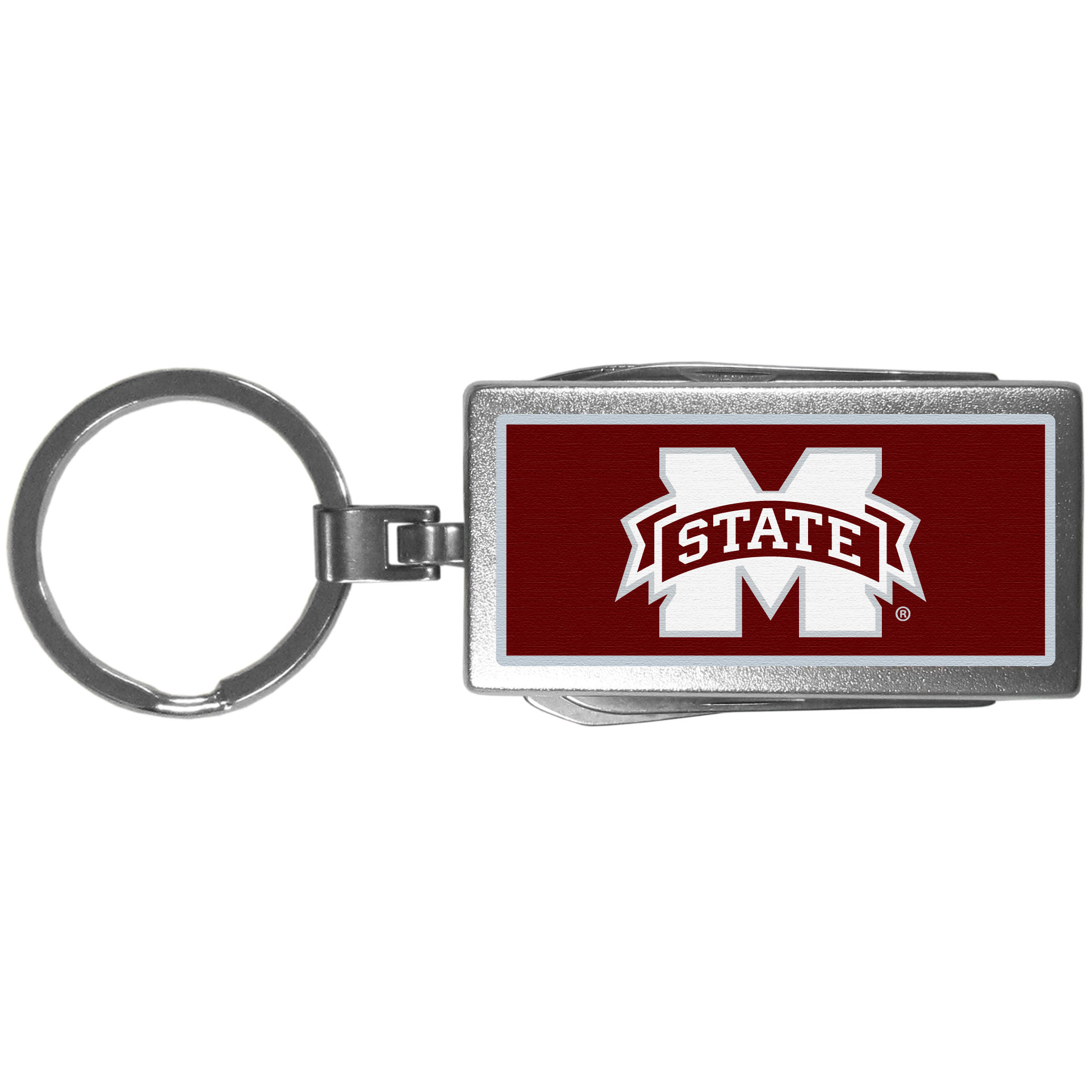 Mississippi St. Bulldogs Multi-tool Key Chain, Logo - Be the hero at the tailgate, camping, or on a Friday night with your Mississippi St. Bulldogs Multi-Tool Keychain which comes complete with bottle opener, scissors, knife, nail file and screw driver. Be it opening a package or a beverage Siskiyou's Multi-Tool Keychain goes wherever your keys do. The keychain hangs at 4 inches long when closed.