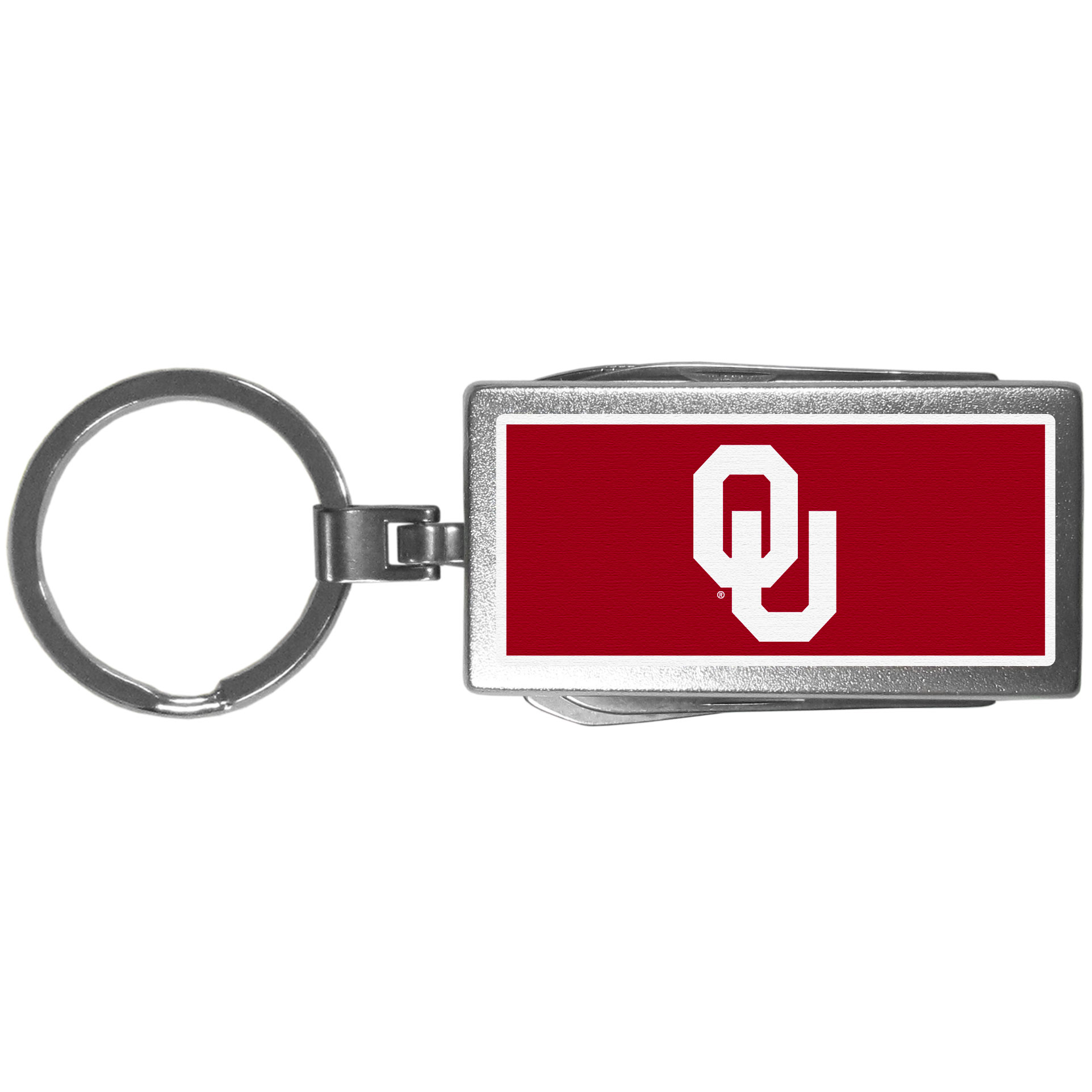 Oklahoma Sooners Multi-tool Key Chain, Logo - Be the hero at the tailgate, camping, or on a Friday night with your Oklahoma Sooners Multi-Tool Keychain which comes complete with bottle opener, scissors, knife, nail file and screw driver. Be it opening a package or a beverage Siskiyou's Multi-Tool Keychain goes wherever your keys do. The keychain hangs at 4 inches long when closed.