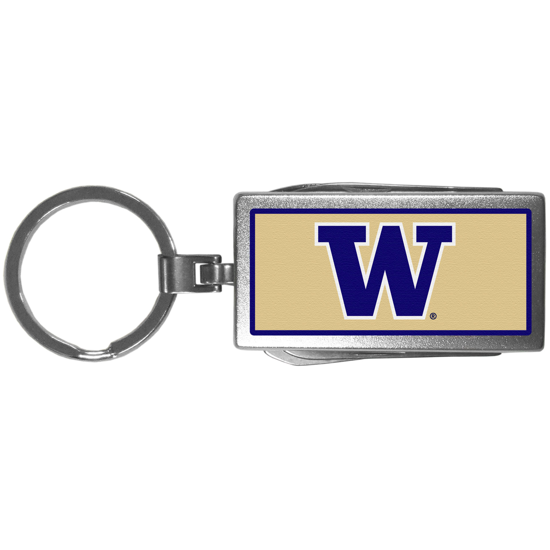 Washington Huskies Multi-tool Key Chain, Logo - Be the hero at the tailgate, camping, or on a Friday night with your Washington Huskies Multi-Tool Keychain which comes complete with bottle opener, scissors, knife, nail file and screw driver. Be it opening a package or a beverage Siskiyou's Multi-Tool Keychain goes wherever your keys do. The keychain hangs at 4 inches long when closed.