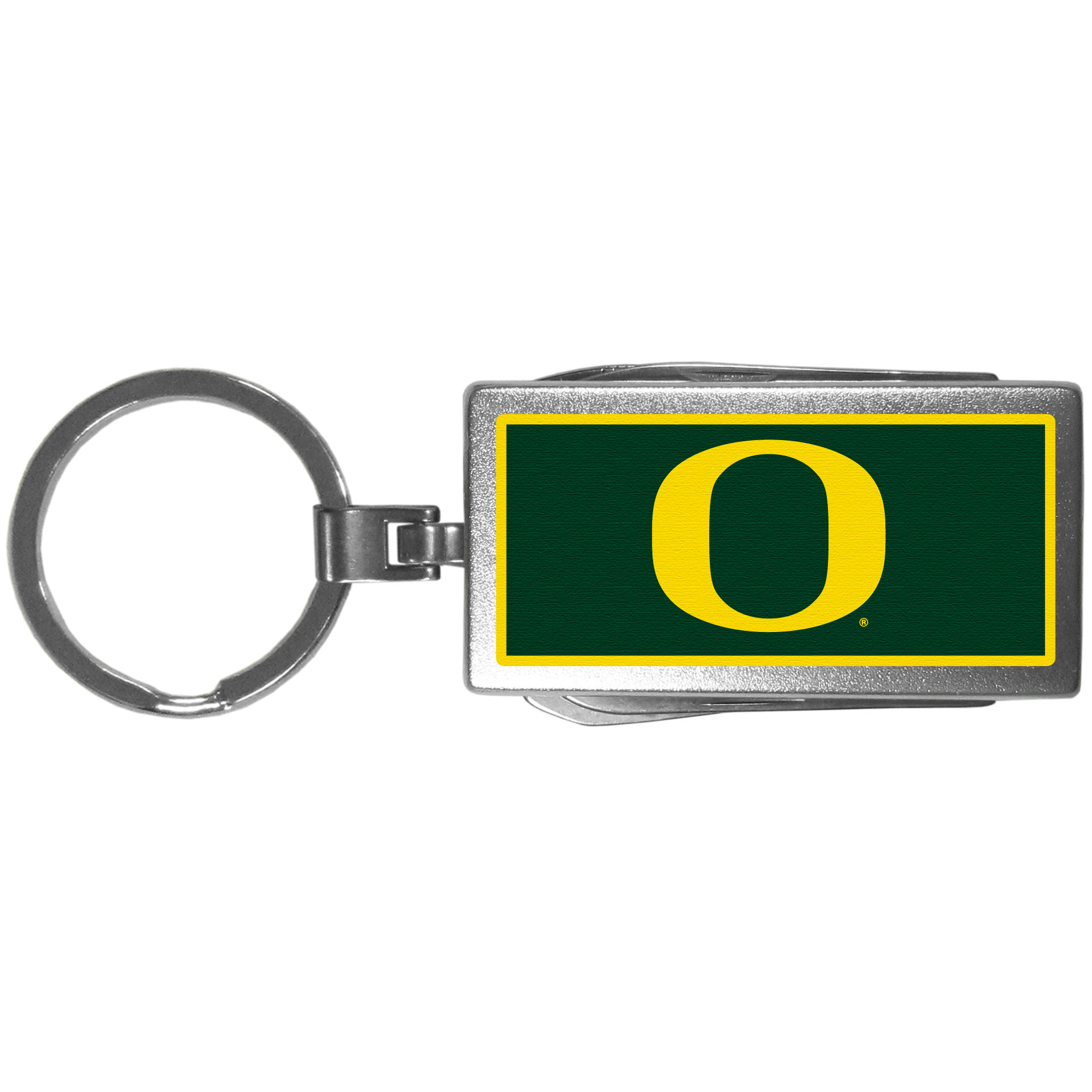 Oregon Ducks Multi-tool Key Chain, Logo - Be the hero at the tailgate, camping, or on a Friday night with your Oregon Ducks Multi-Tool Keychain which comes complete with bottle opener, scissors, knife, nail file and screw driver. Be it opening a package or a beverage Siskiyou's Multi-Tool Keychain goes wherever your keys do. The keychain hangs at 4 inches long when closed.