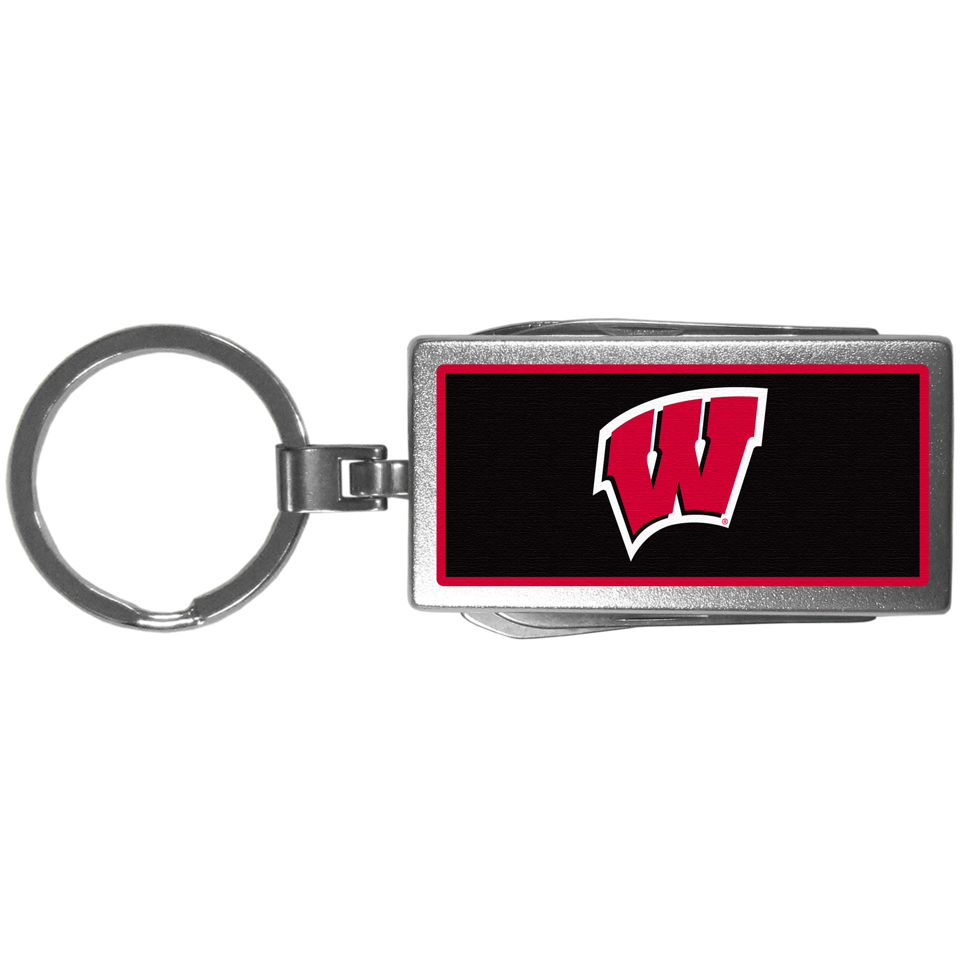 Wisconsin Badgers Multi-tool Key Chain, Logo - Be the hero at the tailgate, camping, or on a Friday night with your Wisconsin Badgers Multi-Tool Keychain which comes complete with bottle opener, scissors, knife, nail file and screw driver. Be it opening a package or a beverage Siskiyou's Multi-Tool Keychain goes wherever your keys do. The keychain hangs at 4 inches long when closed.
