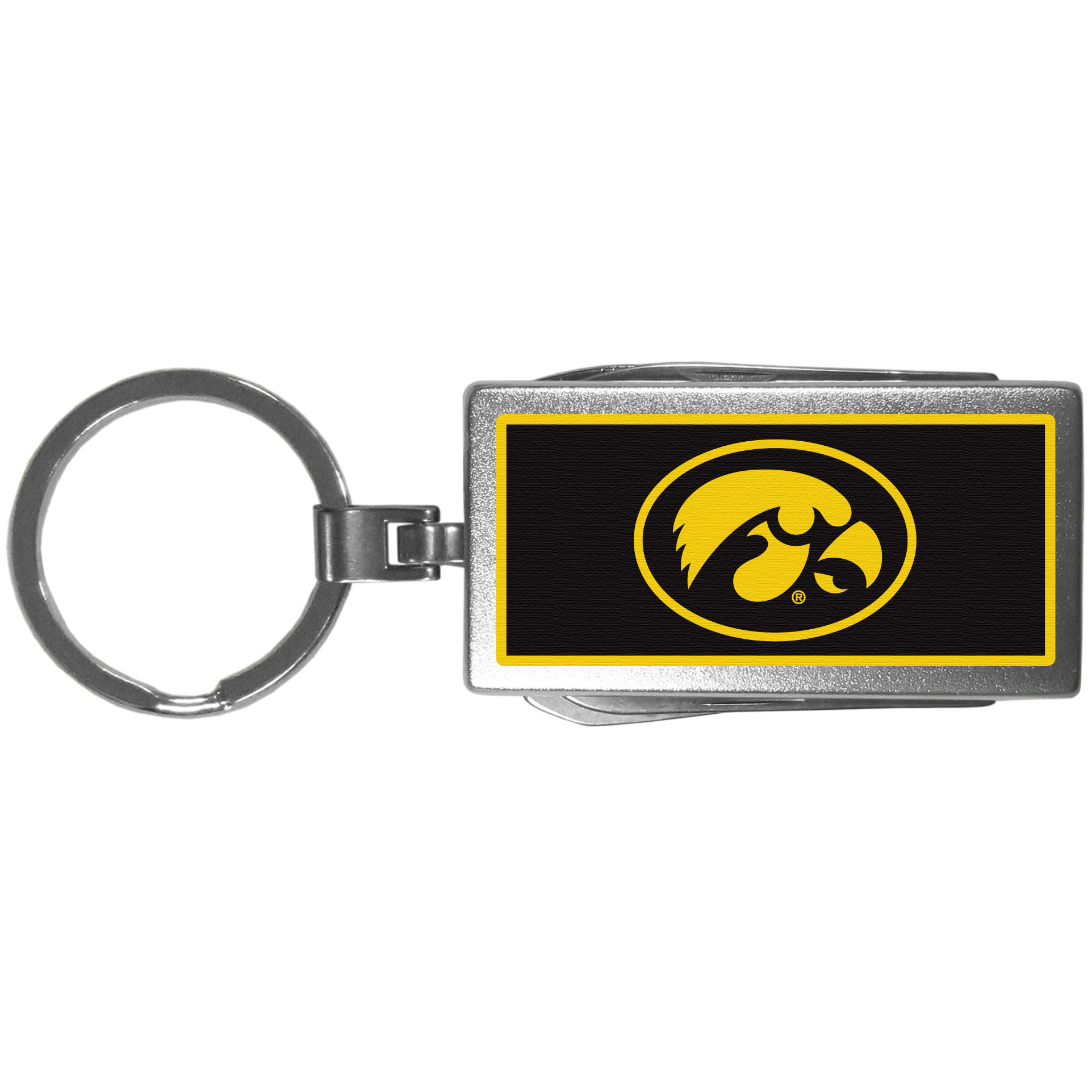 Iowa Hawkeyes Multi-tool Key Chain, Logo - Be the hero at the tailgate, camping, or on a Friday night with your Iowa Hawkeyes Multi-Tool Keychain which comes complete with bottle opener, scissors, knife, nail file and screw driver. Be it opening a package or a beverage Siskiyou's Multi-Tool Keychain goes wherever your keys do. The keychain hangs at 4 inches long when closed.