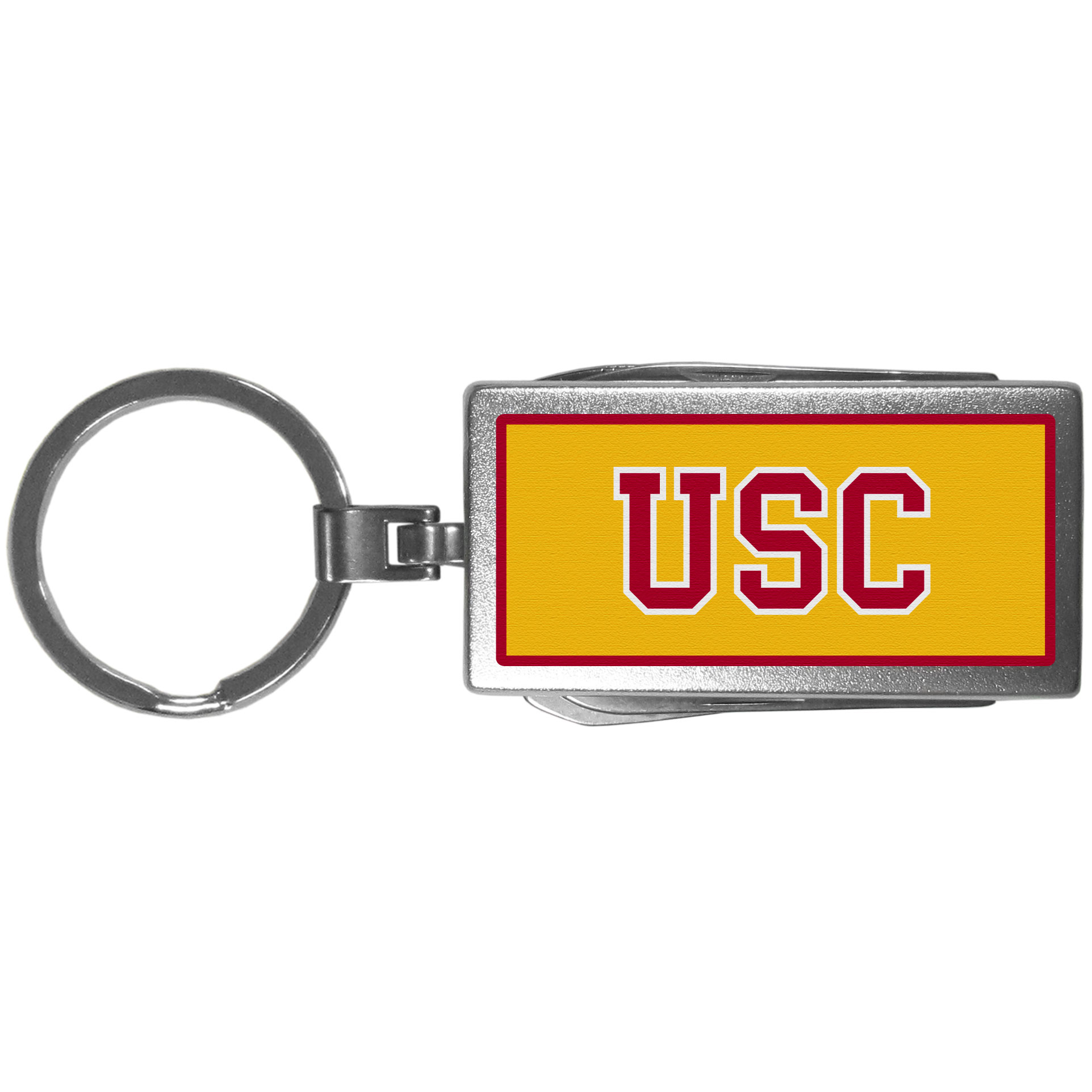 USC Trojans Multi-tool Key Chain, Logo - Be the hero at the tailgate, camping, or on a Friday night with your USC Trojans Multi-Tool Keychain which comes complete with bottle opener, scissors, knife, nail file and screw driver. Be it opening a package or a beverage Siskiyou's Multi-Tool Keychain goes wherever your keys do. The keychain hangs at 4 inches long when closed.