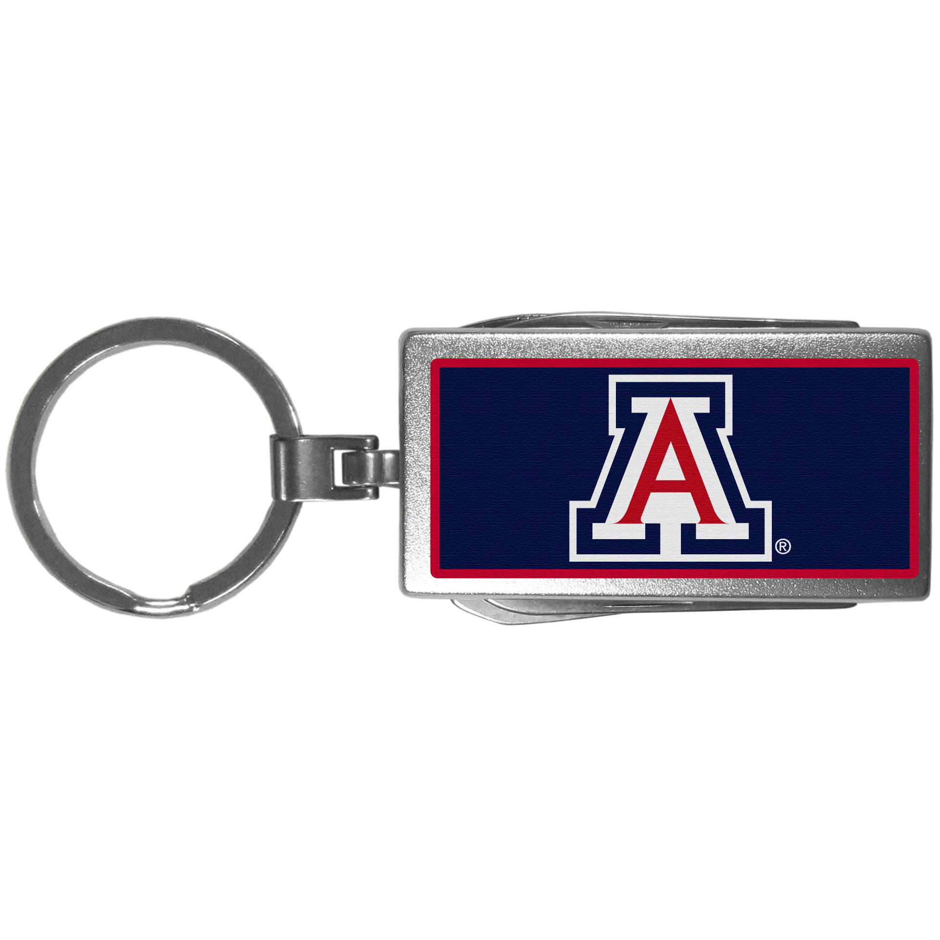 Arizona Wildcats Multi-tool Key Chain, Logo - Be the hero at the tailgate, camping, or on a Friday night with your Arizona Wildcats Multi-Tool Keychain which comes complete with bottle opener, scissors, knife, nail file and screw driver. Be it opening a package or a beverage Siskiyou's Multi-Tool Keychain goes wherever your keys do. The keychain hangs at 4 inches long when closed.