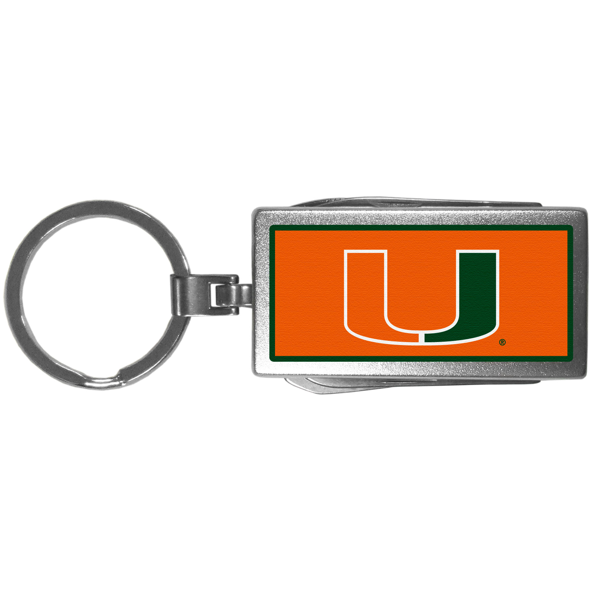 Miami Hurricanes Multi-tool Key Chain, Logo - Be the hero at the tailgate, camping, or on a Friday night with your Miami Hurricanes Multi-Tool Keychain which comes complete with bottle opener, scissors, knife, nail file and screw driver. Be it opening a package or a beverage Siskiyou's Multi-Tool Keychain goes wherever your keys do. The keychain hangs at 4 inches long when closed.