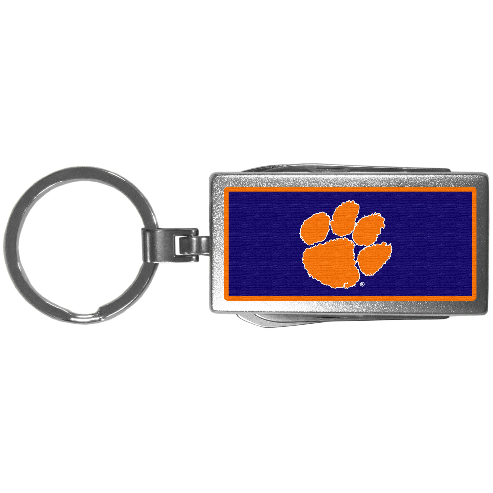Clemson Tigers Multi-tool Key Chain, Logo - Be the hero at the tailgate, camping, or on a Friday night with your Clemson Tigers Multi-Tool Keychain which comes complete with bottle opener, scissors, knife, nail file and screw driver. Be it opening a package or a beverage Siskiyou's Multi-Tool Keychain goes wherever your keys do. The keychain hangs at 4 inches long when closed.