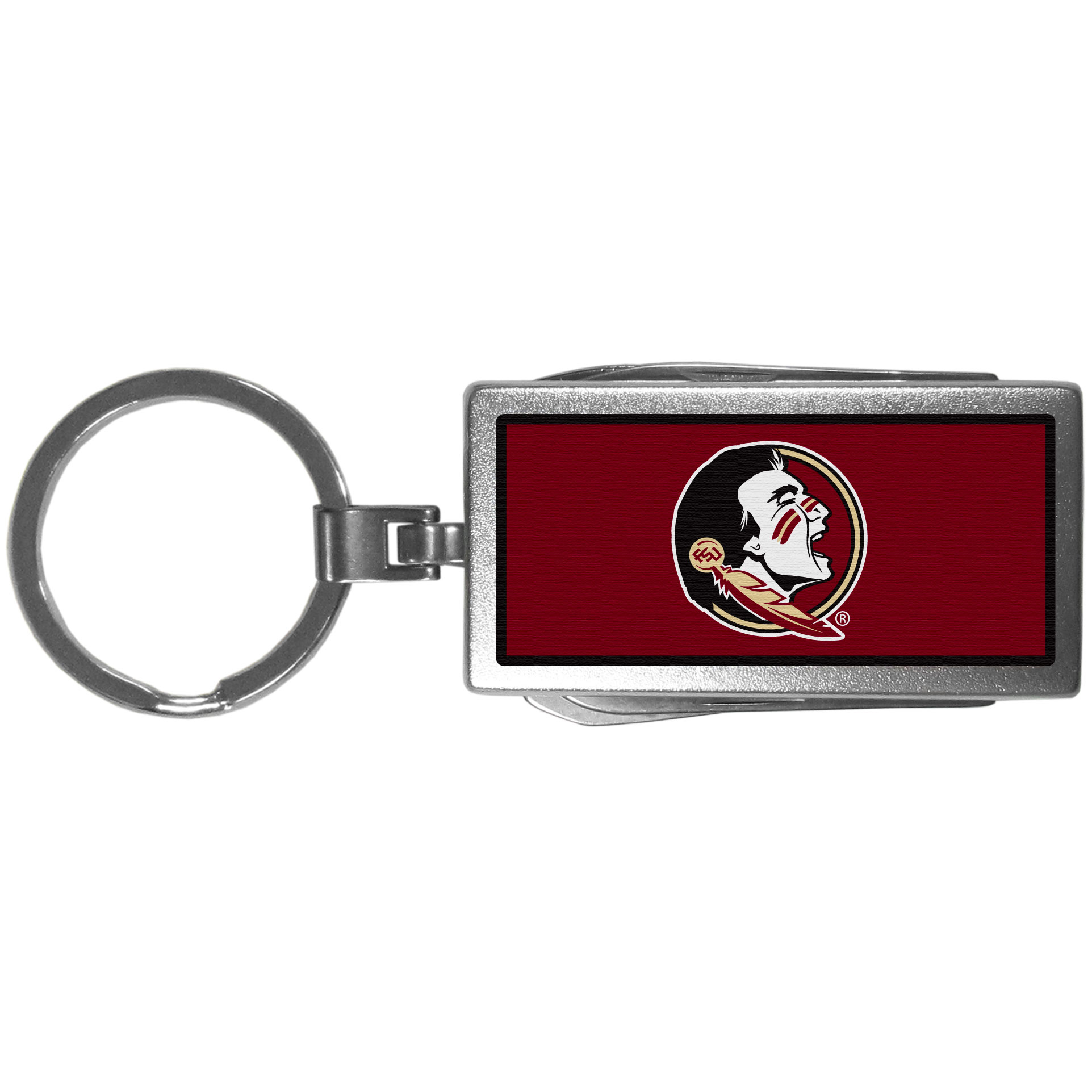 Florida St. Seminoles Multi-tool Key Chain, Logo - Be the hero at the tailgate, camping, or on a Friday night with your Florida St. Seminoles Multi-Tool Keychain which comes complete with bottle opener, scissors, knife, nail file and screw driver. Be it opening a package or a beverage Siskiyou's Multi-Tool Keychain goes wherever your keys do. The keychain hangs at 4 inches long when closed.