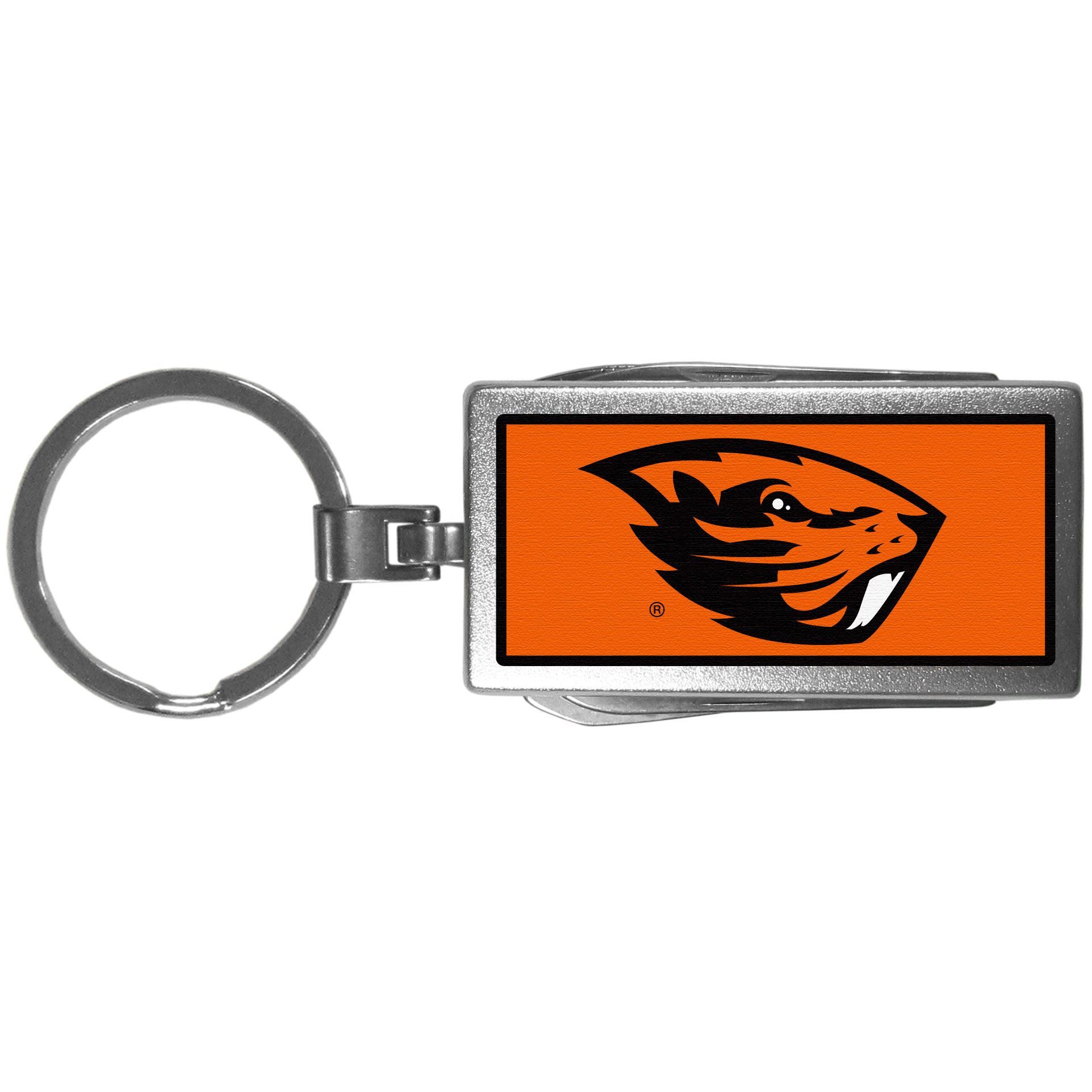 Oregon St. Beavers Multi-tool Key Chain, Logo - Be the hero at the tailgate, camping, or on a Friday night with your Oregon St. Beavers Multi-Tool Keychain which comes complete with bottle opener, scissors, knife, nail file and screw driver. Be it opening a package or a beverage Siskiyou's Multi-Tool Keychain goes wherever your keys do. The keychain hangs at 4 inches long when closed.