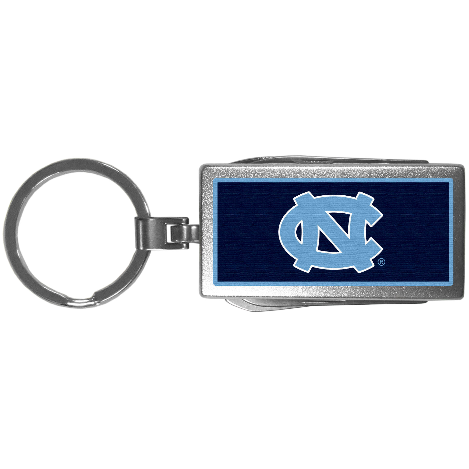 N. Carolina Tar Heels Multi-tool Key Chain, Logo - Be the hero at the tailgate, camping, or on a Friday night with your N. Carolina Tar Heels Multi-Tool Keychain which comes complete with bottle opener, scissors, knife, nail file and screw driver. Be it opening a package or a beverage Siskiyou's Multi-Tool Keychain goes wherever your keys do. The keychain hangs at 4 inches long when closed.