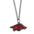 Arkansas Razorbacks Chain Necklace with Small Charm - Make a statement with our collegiate chain necklaces. The 20 inch chain features a fully cast, high polish Arkansas Razorbacks pendant with vivid enameled details. Perfect accessory for game day and nice enough to wear everyday! Thank you for shopping with CrazedOutSports.com