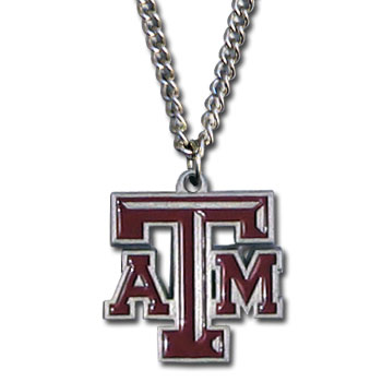 "College Pendant - Texas A and M Aggies - Our college pendants feature 3D detail and are hand enameled. They come on an 18"" chain. Check out our entire line of college merchandise! Thank you for shopping with CrazedOutSports.com"