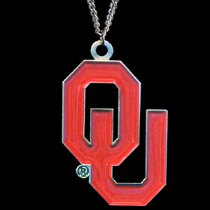 College Pendant - Oklahoma Sooners -  college sculpted logo pendant on a chain necklace. A great way to show school spirit! Check out our entire line of  collegiate jewelry! Thank you for shopping with CrazedOutSports.com