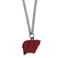 Wisconsin Badgers Chain Necklace with Small Charm - Make a statement with our collegiate chain necklaces. The 20 inch chain features a fully cast, high polish Wisconsin Badgers pendant with vivid enameled details. Perfect accessory for game day and nice enough to wear everyday! Thank you for shopping with CrazedOutSports.com