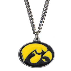 "College Pendant -Iowa Hawkeyes - Iowa Hawkeyes college pendants feature 3D detail and are hand enameled. They come on an 18"" chain. Check out our entire line of college merchandise! Thank you for shopping with CrazedOutSports.com"