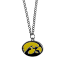 Iowa Hawkeyes Chain Necklace with Small Charm - Make a statement with our collegiate Iowa Hawkeyes chain necklace with Small Charm. The 20 inch chain features a fully cast, high polish Iowa Hawkeyes pendant with vivid enameled details. Perfect accessory for game day and nice enough to wear everyday! Thank you for shopping with CrazedOutSports.com