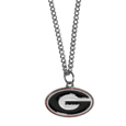 Georgia Bulldogs Chain Necklace with Small Charm - Make a statement with our Georgia Bulldogs collegiate chain necklaces. The 20 inch chain features a fully cast, high polish Georgia Bulldogs pendant with vivid enameled details. Perfect accessory for game day and nice enough to wear everyday! Thank you for shopping with CrazedOutSports.com