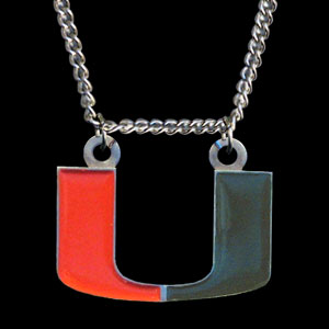 Miami Hurricanes College Pendant - Miami Hurricanes college sculpted logo pendant on a chain necklace. A Miami Hurricanes College Pendant is a great way to show school spirit! Check out our entire line of  collegiate jewelry! Thank you for shopping with CrazedOutSports.com