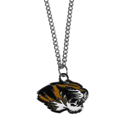 Missouri Tigers Chain Necklace with Small Charm - Make a statement with our collegiate chain necklaces. The 20 inch chain features a fully cast, high polish Missouri Tigers pendant with vivid enameled details. Perfect accessory for game day and nice enough to wear everyday! Thank you for shopping with CrazedOutSports.com