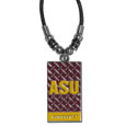 "Arizona St. Sun Devils Gridiron Necklace - ""Our officially licensed Arizona State Sun Devils collegiate gridiron necklace has a 1.5"""" Arizona St. Sun Devils pendant with an enamel & chrome finish on an 18"""" cord with beaded accents."" Thank you for shopping with CrazedOutSports.com"