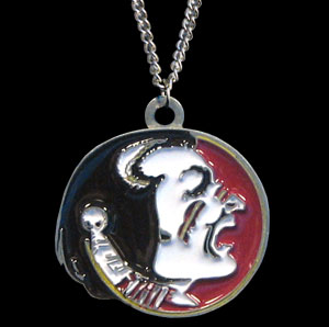 College Pendant - Florida State Seminoles - Florida State Seminoles college sculpted logo pendant on a chain necklace. A great way to show Florida State Seminoles spirit! Check out our entire line of  collegiate jewelry! Thank you for shopping with CrazedOutSports.com