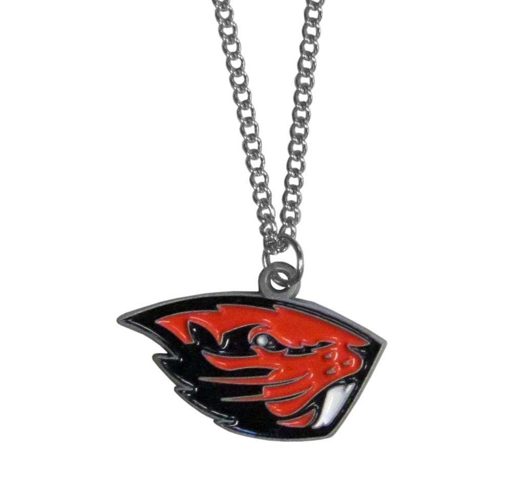 Oregon St. Beavers Chain Necklace - Make a statement with our chain necklaces. The 22 inch chain features a fully cast, metal Oregon St. Beavers pendant with vivid enameled details. Perfect accessory for game day and nice enough to wear everyday!
