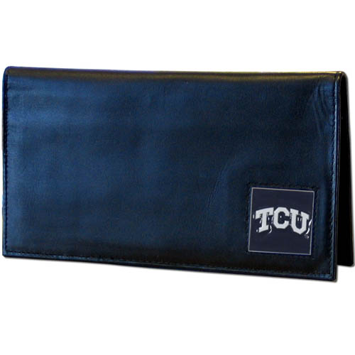 TCU Leather Checkbook Cover - Our college executive checkbook cover is made of high quality leather includes inside pockets for added storage and plastic separator sheet for duplicate check writing. Team logo square is sculpted with hand enameled detail. Thank you for shopping with CrazedOutSports.com