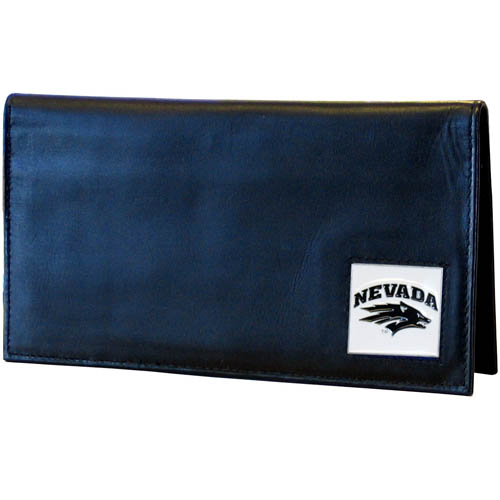 Nevada Leather Checkbook Cover - Our college executive checkbook cover is made of high quality leather includes inside pockets for added storage and plastic separator sheet for duplicate check writing. Team logo square is sculpted with hand enameled detail. Thank you for shopping with CrazedOutSports.com