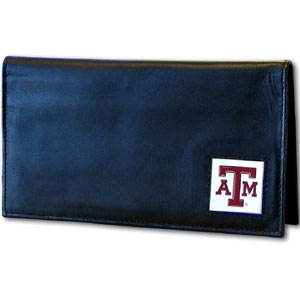 College Executive Checkbook Cover Boxed- Texas AandM Aggies - Our college executive checkbook cover is made of high quality leather includes inside pockets for added storage and plastic separator sheet for duplicate check writing. Team logo square is sculpted with hand enameled detail. Thank you for shopping with CrazedOutSports.com