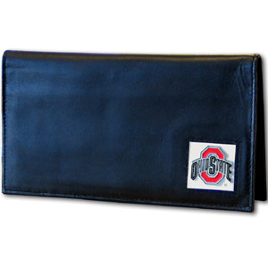 College Executive Checkbook Cover Boxed- Ohio St. Buckeyes - Our college executive checkbook cover is made of high quality leather includes inside pockets for added storage and plastic separator sheet for duplicate check writing. Team logo square is sculpted with hand enameled detail. Thank you for shopping with CrazedOutSports.com