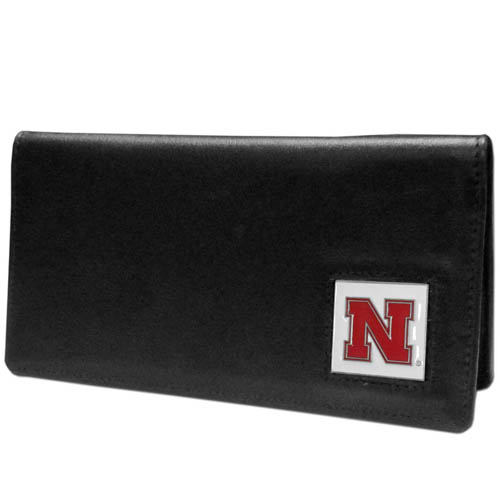 College Checkbook Cover in a tin - Nebraska Cornhuskers - Our college executive checkbook cover is made of high quality leather includes inside pockets for added storage and plastic separator sheet for duplicate check writing. Team logo square is sculpted with hand enameled detail. Thank you for shopping with CrazedOutSports.com