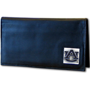 College Executive Checkbook Cover Boxed- Auburn Tigers - Our college executive checkbook cover is made of high quality leather includes inside pockets for added storage and plastic separator sheet for duplicate check writing. Auburn Tigers team logo square is sculpted with hand enameled detail. Thank you for shopping with CrazedOutSports.com