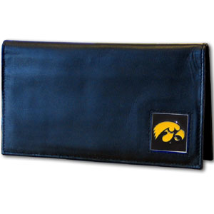 College Executive Checkbook Cover Boxed- Iowa Hawkeyes - This Iowa Hawkeye scollege executive checkbook cover is made of high quality leather includes inside pockets for added storage and plastic separator sheet for duplicate check writing. Team logo square is sculpted with hand enameled detail. Thank you for shopping with CrazedOutSports.com