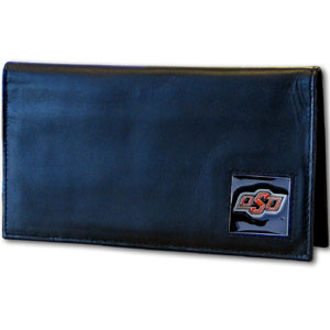 College Executive Checkbook Covers Boxed- Oklahoma St. Cowboys - Our college executive checkbook cover is made of high quality leather includes inside pockets for added storage and plastic separator sheet for duplicate check writing. Team logo square is sculpted with hand enameled detail. Thank you for shopping with CrazedOutSports.com