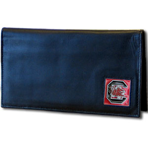 College Executive Checkbook Cover Boxed- S. Carolina Gamecocks - Our college executive checkbook cover is made of high quality leather includes inside pockets for added storage and plastic separator sheet for duplicate check writing. Team logo square is sculpted with hand enameled detail. Thank you for shopping with CrazedOutSports.com