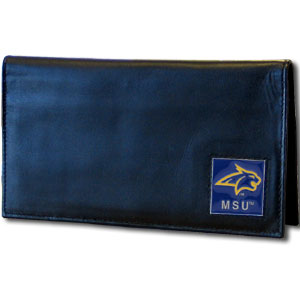 Leather Checkbook Cover - Montana St. Bobcats - Our  college executive checkbook cover is made of high quality leather includes inside pockets for added storage and plastic separator sheet for duplicate check writing. Team logo square is sculpted in pewter and enameled with fine detail. Thank you for shopping with CrazedOutSports.com