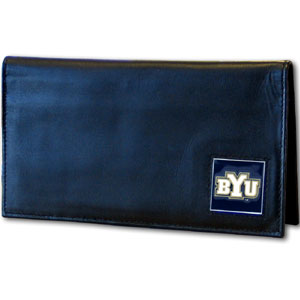 College Executive Checkbook Cover Boxed-BYU Cougars - Our college executive checkbook cover is made of high quality leather includes inside pockets for added storage and plastic separator sheet for duplicate check writing.BYU CougarsTeam logo square is sculpted with hand enameled detail. Thank you for shopping with CrazedOutSports.com