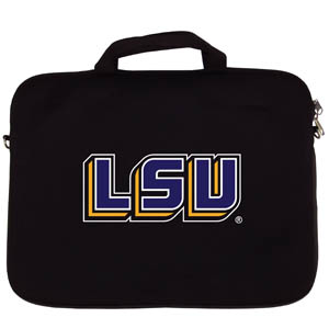 "LSU Tigers Lap Top Case - This LSU Tigers neoprene laptop bag is designed to fit 15"" and most 17"" laptops and are approved to pass airport security without removing the equipment from the bag. Some 17"" laptops are designed with a wider border and may not fit this bag. (inner bag dimensions: 11 ¾""t x 15""w) Thank you for shopping with CrazedOutSports.com"