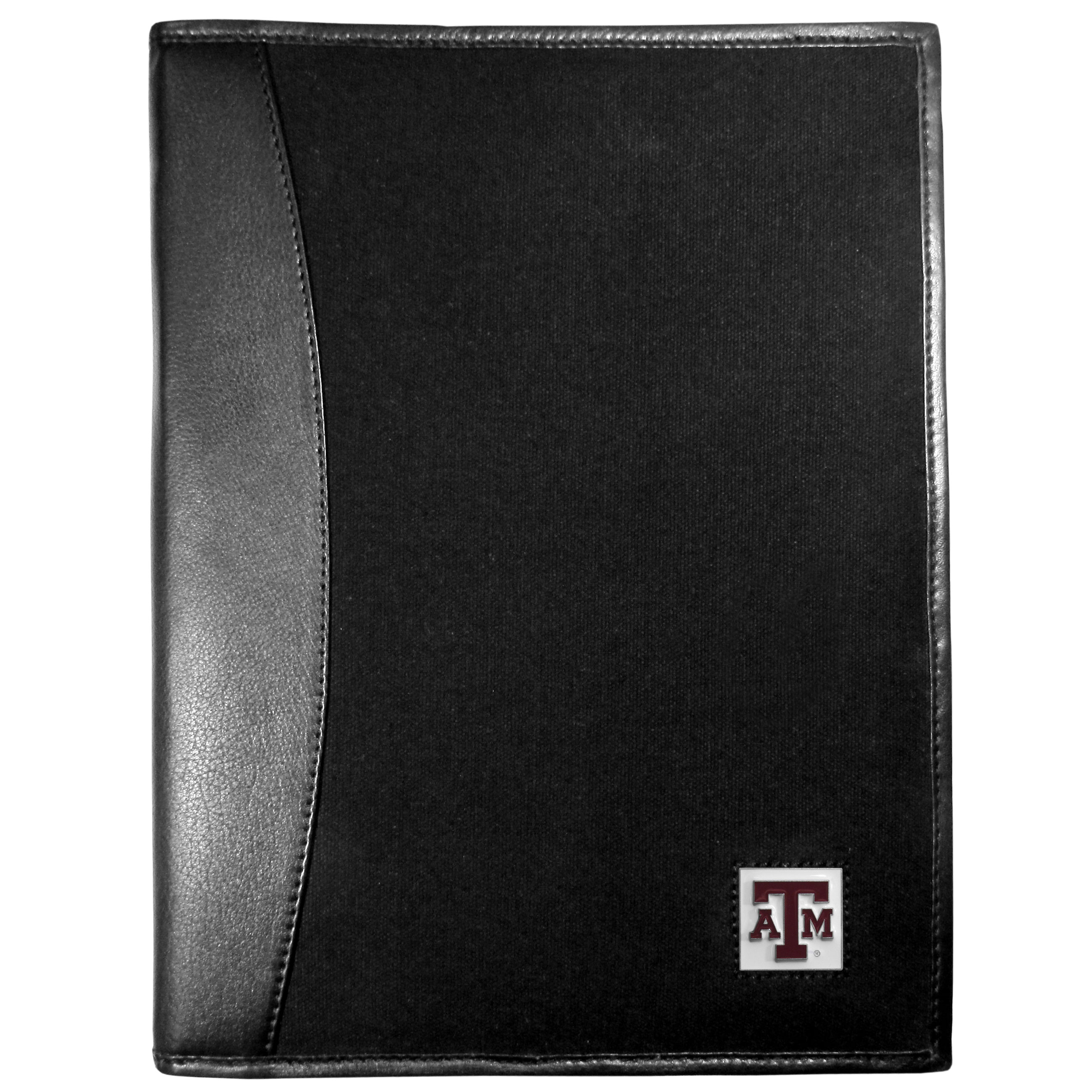 Texas A and M Aggies Leather and Canvas Padfolio - Our leather and canvas padfolio perfectly blends form and function. The attractive portfolio is bound in fine grain leather with an attractive canvas finish and the interior is a soft nylon. This high quality business accessory also features a fully cast metal Texas A & M Aggies emblem that is subtly set in the corner of the organizer. It is packed with features like 6 card slots for badges, business cards, hotel keys or credit cards and ID with a large pocket for loose papers and a writing tablet slot making it a must-have for the professional on the go.