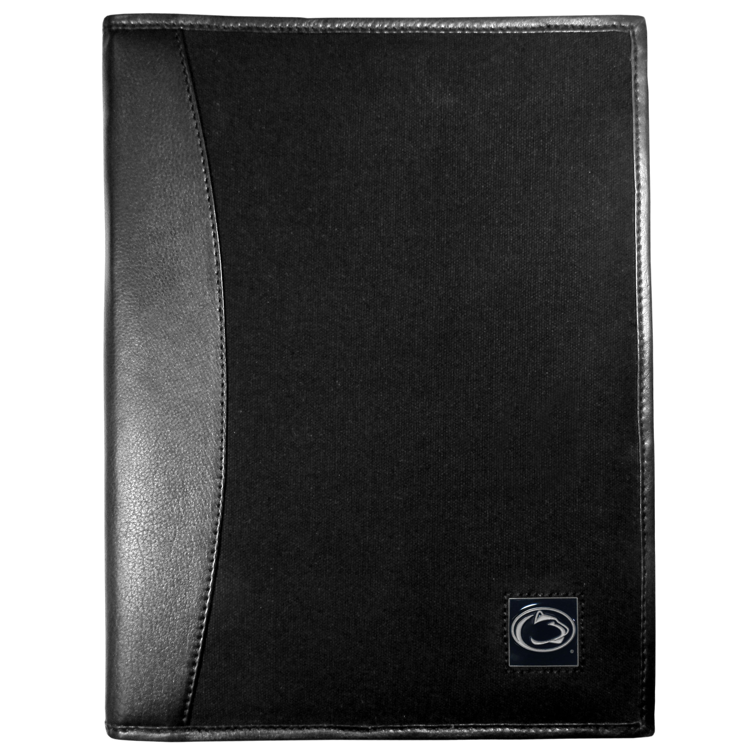 Penn St. Nittany Lions Leather and Canvas Padfolio - Our leather and canvas padfolio perfectly blends form and function. The attractive portfolio is bound in fine grain leather with an attractive canvas finish and the interior is a soft nylon. This high quality business accessory also features a fully cast metal Penn St. Nittany Lions emblem that is subtly set in the corner of the organizer. It is packed with features like 6 card slots for badges, business cards, hotel keys or credit cards and ID with a large pocket for loose papers and a writing tablet slot making it a must-have for the professional on the go.