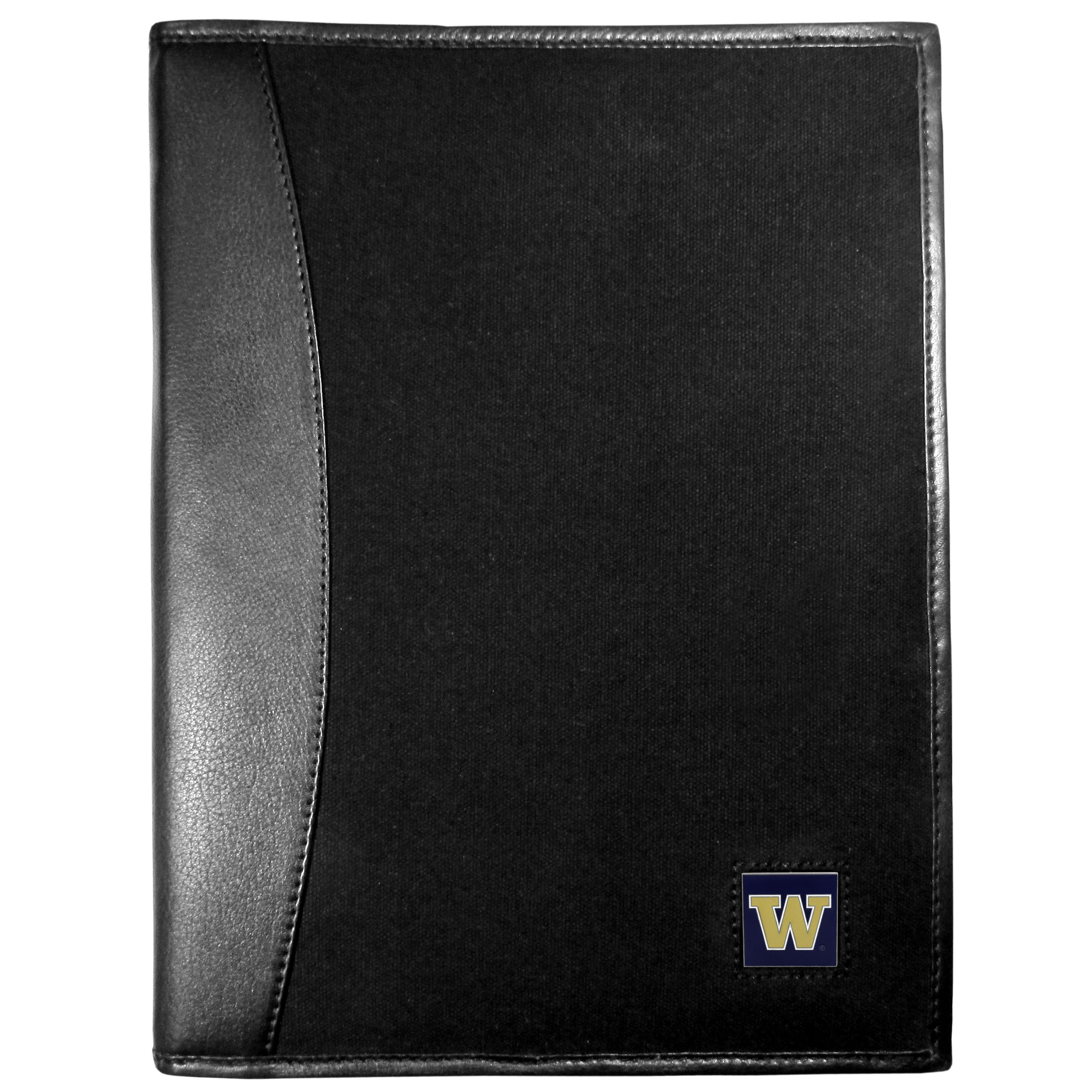 Washington Huskies Leather and Canvas Padfolio - Our leather and canvas padfolio perfectly blends form and function. The attractive portfolio is bound in fine grain leather with an attractive canvas finish and the interior is a soft nylon. This high quality business accessory also features a fully cast metal Washington Huskies emblem that is subtly set in the corner of the organizer. It is packed with features like 6 card slots for badges, business cards, hotel keys or credit cards and ID with a large pocket for loose papers and a writing tablet slot making it a must-have for the professional on the go.