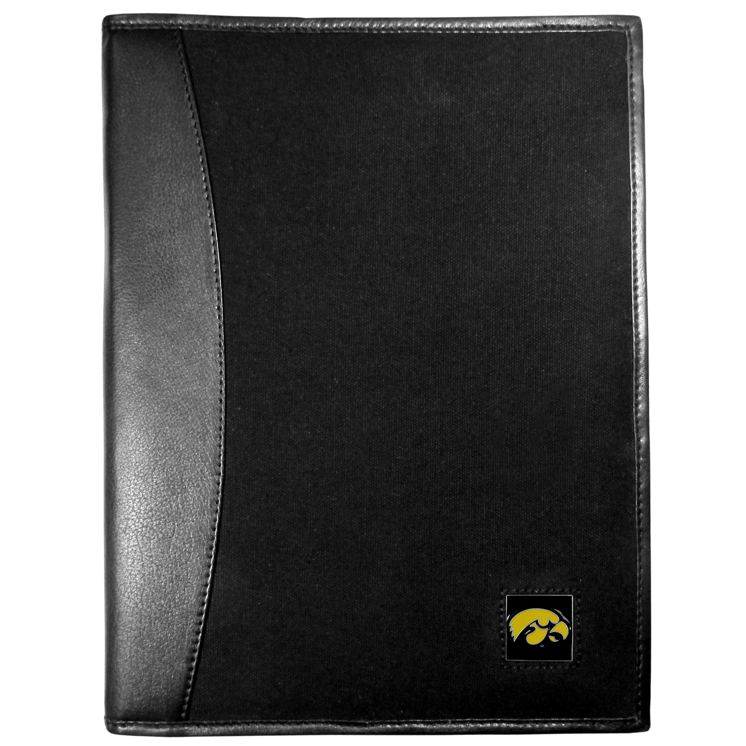 Iowa Hawkeyes Leather and Canvas Padfolio - Our leather and canvas padfolio perfectly blends form and function. The attractive portfolio is bound in fine grain leather with an attractive canvas finish and the interior is a soft nylon. This high quality business accessory also features a fully cast metal Iowa Hawkeyes emblem that is subtly set in the corner of the organizer. It is packed with features like 6 card slots for badges, business cards, hotel keys or credit cards and ID with a large pocket for loose papers and a writing tablet slot making it a must-have for the professional on the go.