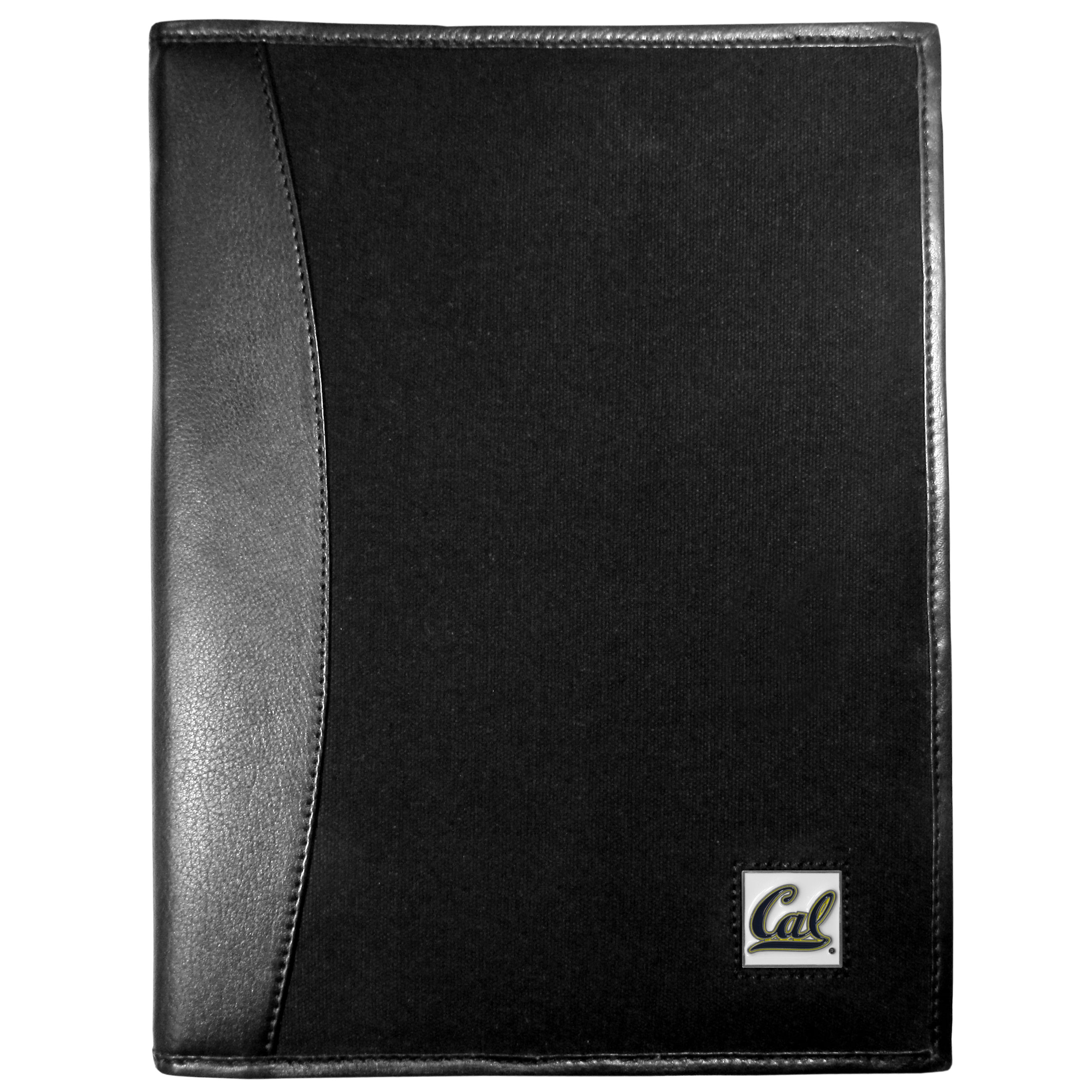 Cal Berkeley Bears Leather and Canvas Padfolio - Our leather and canvas padfolio perfectly blends form and function. The attractive portfolio is bound in fine grain leather with an attractive canvas finish and the interior is a soft nylon. This high quality business accessory also features a fully cast metal Cal Berkeley Bears emblem that is subtly set in the corner of the organizer. It is packed with features like 6 card slots for badges, business cards, hotel keys or credit cards and ID with a large pocket for loose papers and a writing tablet slot making it a must-have for the professional on the go.