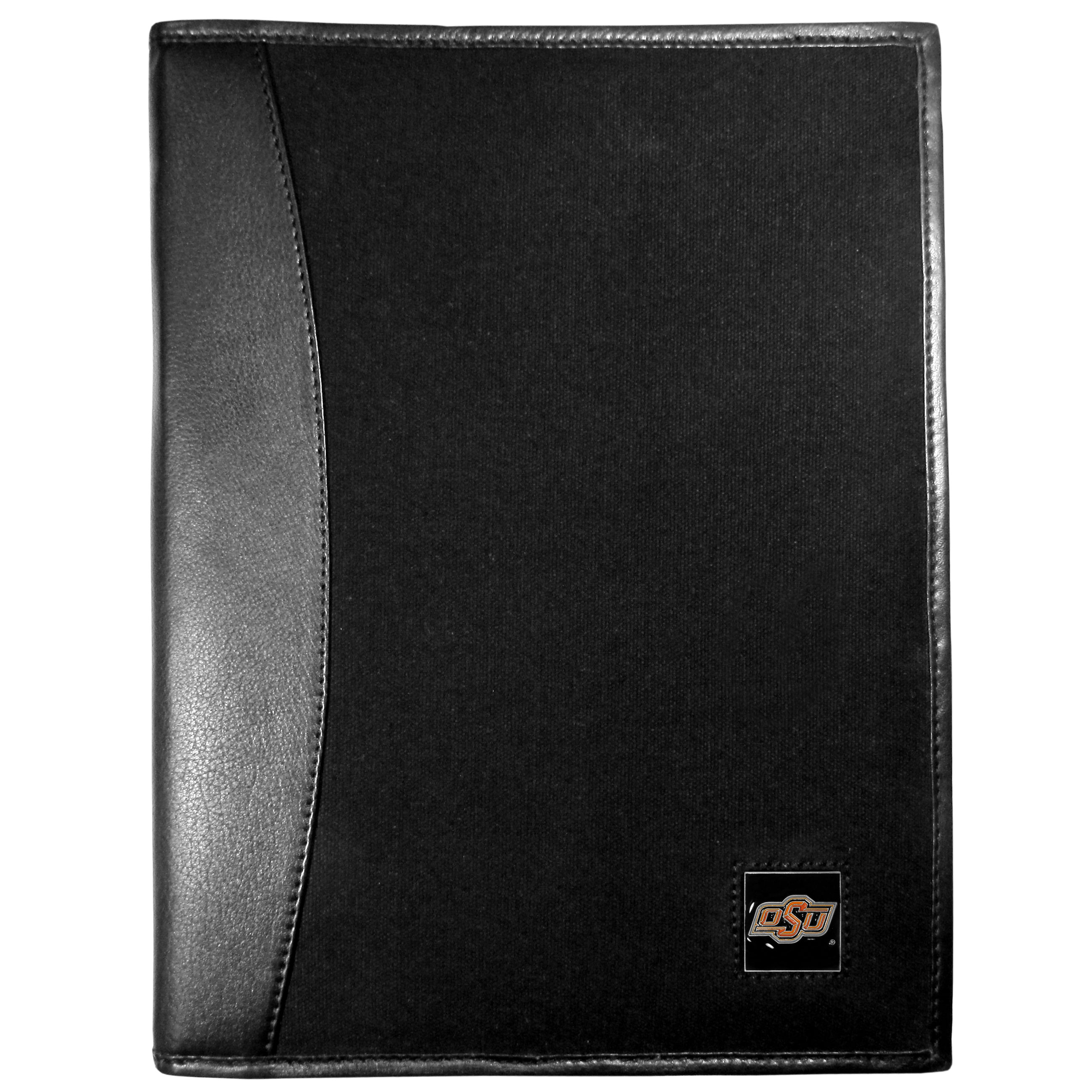 Oklahoma St. Cowboys Leather and Canvas Padfolio - Our leather and canvas padfolio perfectly blends form and function. The attractive portfolio is bound in fine grain leather with an attractive canvas finish and the interior is a soft nylon. This high quality business accessory also features a fully cast metal Oklahoma St. Cowboys emblem that is subtly set in the corner of the organizer. It is packed with features like 6 card slots for badges, business cards, hotel keys or credit cards and ID with a large pocket for loose papers and a writing tablet slot making it a must-have for the professional on the go.