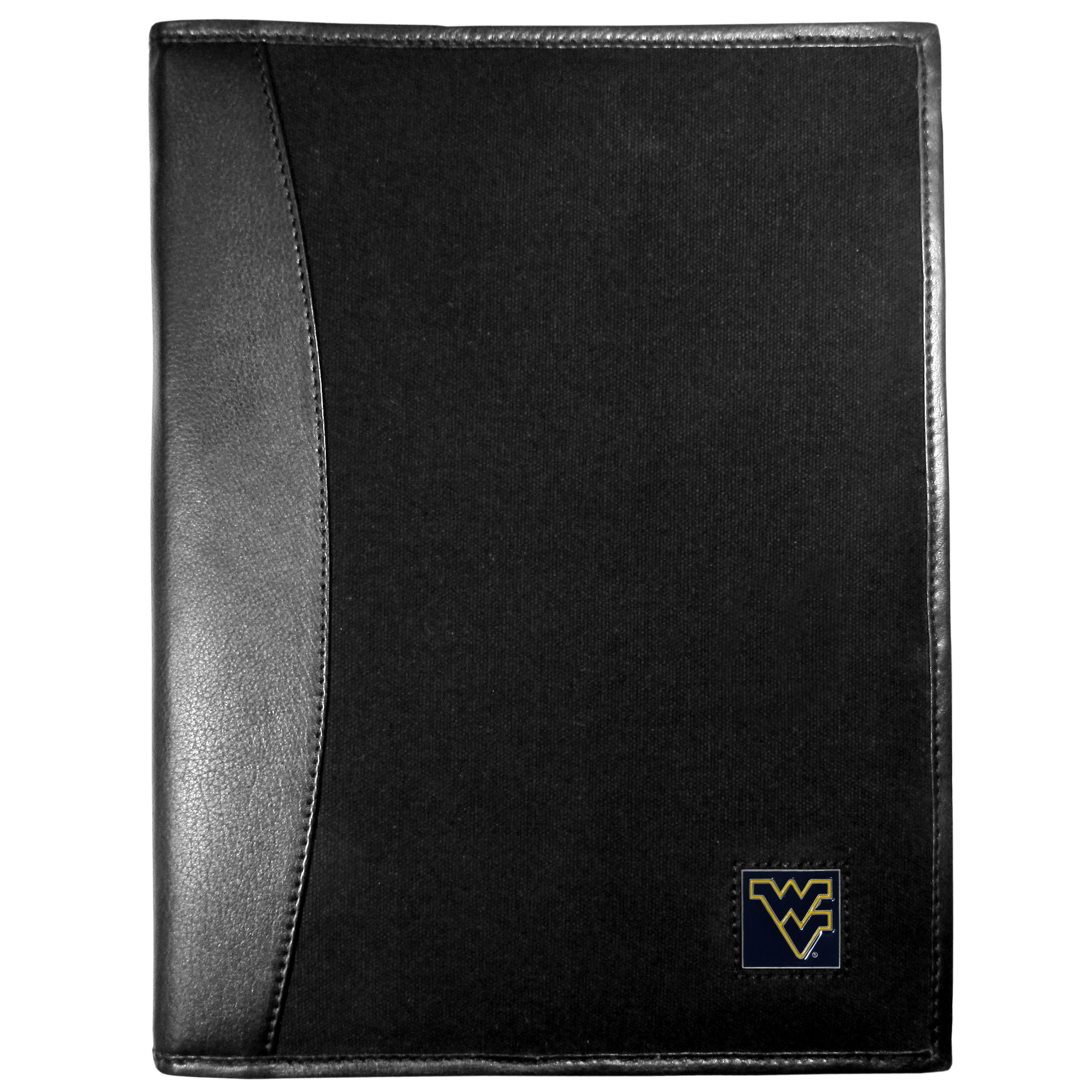 W. Virginia Mountaineers Leather and Canvas Padfolio - Our leather and canvas padfolio perfectly blends form and function. The attractive portfolio is bound in fine grain leather with an attractive canvas finish and the interior is a soft nylon. This high quality business accessory also features a fully cast metal W. Virginia Mountaineers emblem that is subtly set in the corner of the organizer. It is packed with features like 6 card slots for badges, business cards, hotel keys or credit cards and ID with a large pocket for loose papers and a writing tablet slot making it a must-have for the professional on the go.