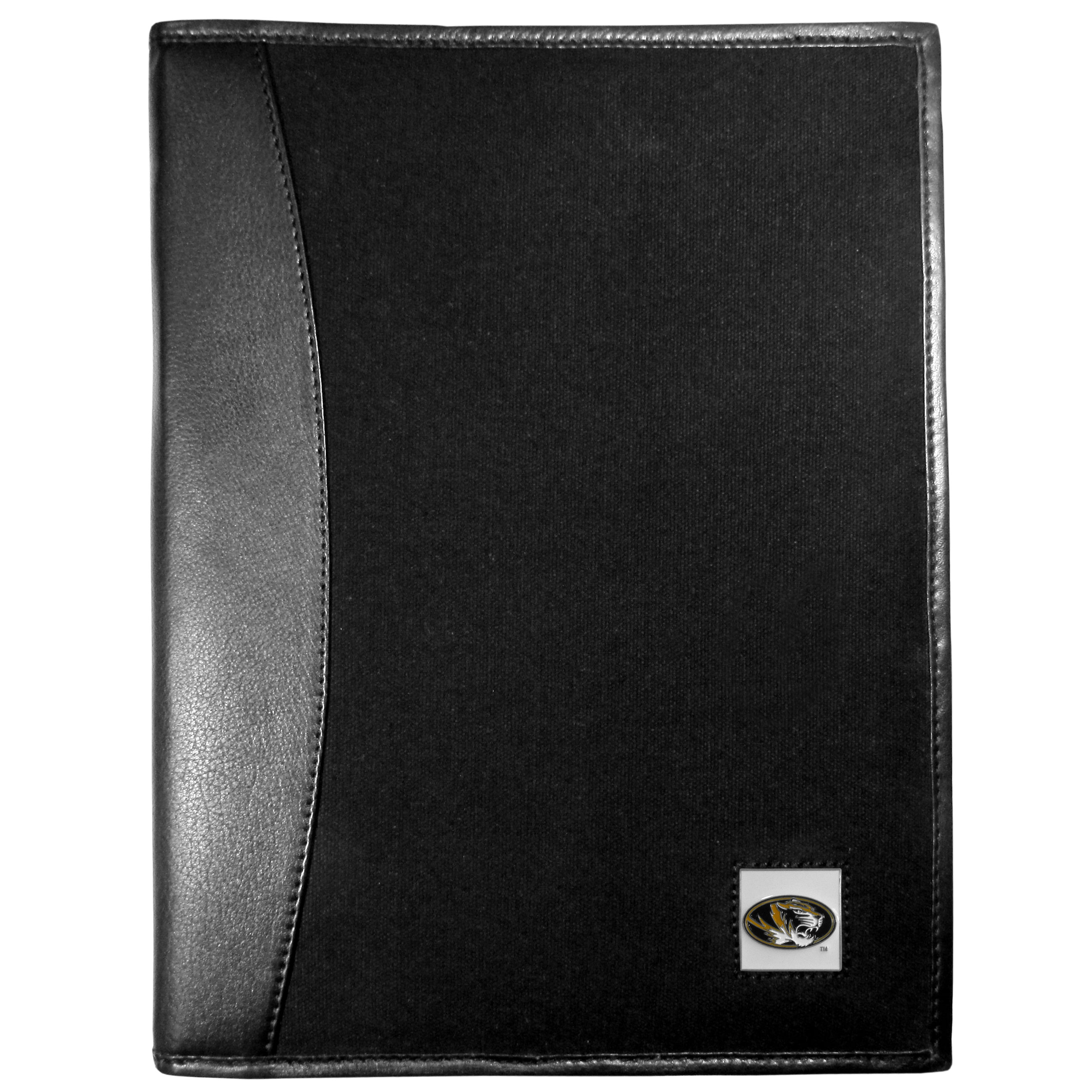 Missouri Tigers Leather and Canvas Padfolio - Our leather and canvas padfolio perfectly blends form and function. The attractive portfolio is bound in fine grain leather with an attractive canvas finish and the interior is a soft nylon. This high quality business accessory also features a fully cast metal Missouri Tigers emblem that is subtly set in the corner of the organizer. It is packed with features like 6 card slots for badges, business cards, hotel keys or credit cards and ID with a large pocket for loose papers and a writing tablet slot making it a must-have for the professional on the go.