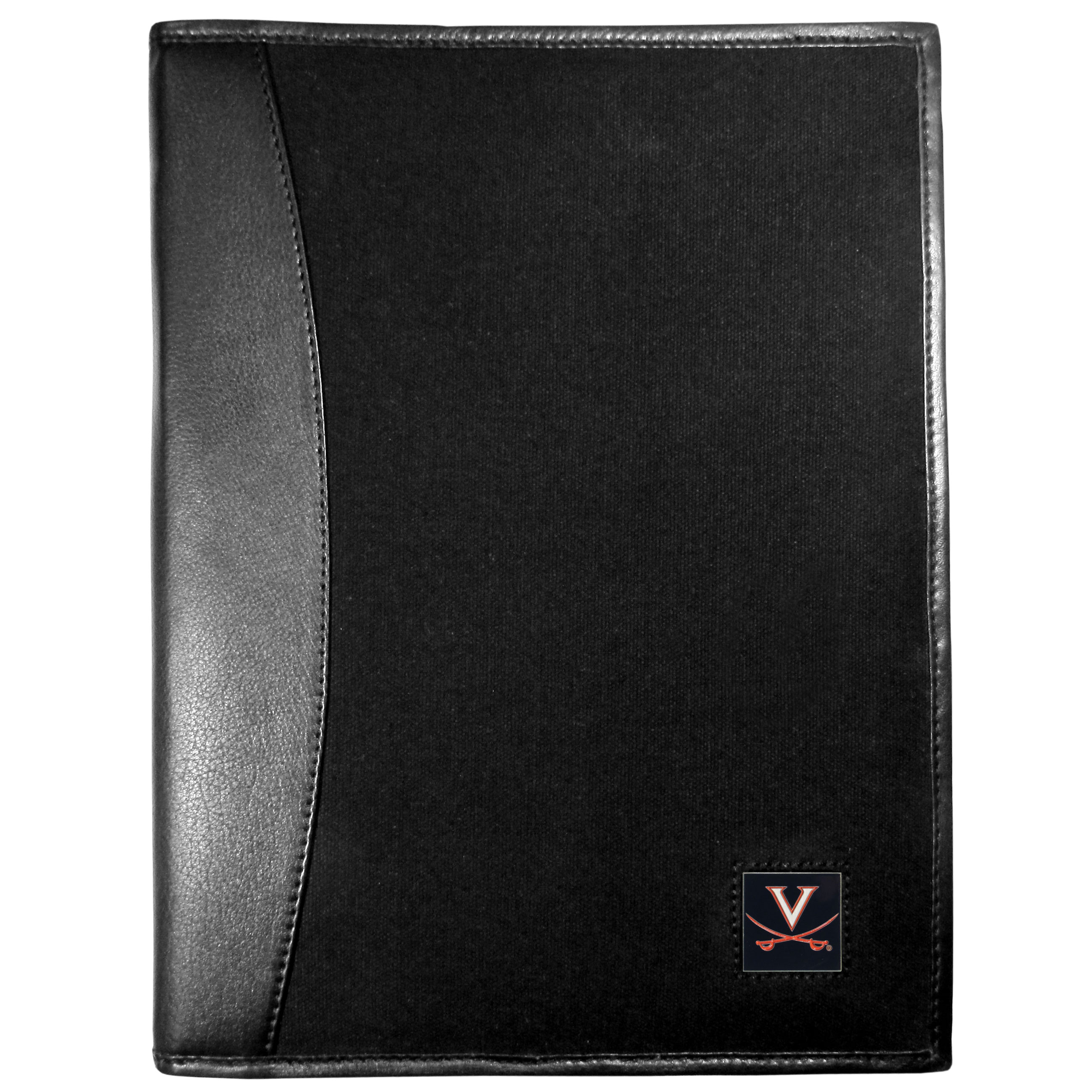 Virginia Cavaliers Leather and Canvas Padfolio - Our leather and canvas padfolio perfectly blends form and function. The attractive portfolio is bound in fine grain leather with an attractive canvas finish and the interior is a soft nylon. This high quality business accessory also features a fully cast metal Virginia Cavaliers emblem that is subtly set in the corner of the organizer. It is packed with features like 6 card slots for badges, business cards, hotel keys or credit cards and ID with a large pocket for loose papers and a writing tablet slot making it a must-have for the professional on the go.