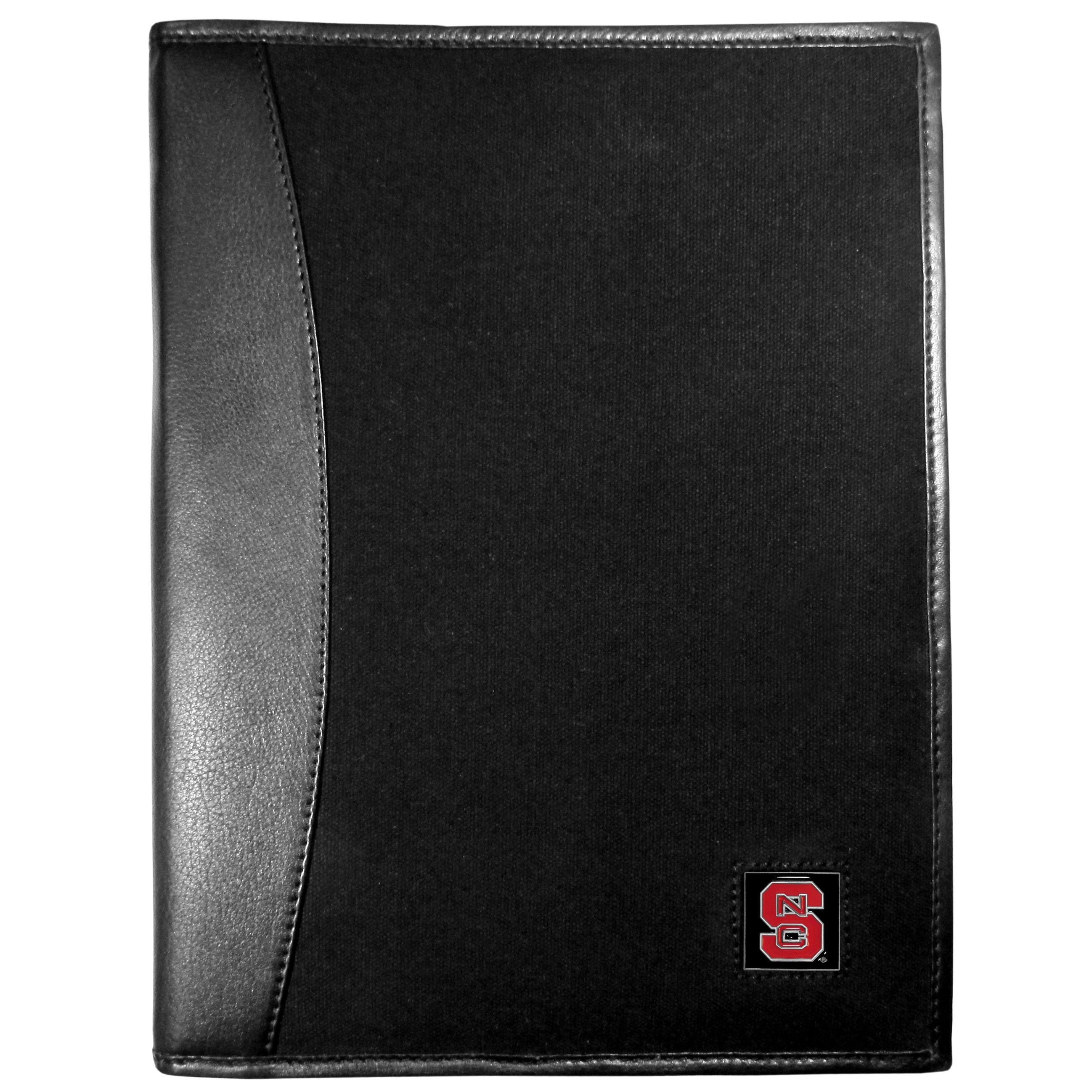 N. Carolina St. Wolfpack Leather and Canvas Padfolio - Our leather and canvas padfolio perfectly blends form and function. The attractive portfolio is bound in fine grain leather with an attractive canvas finish and the interior is a soft nylon. This high quality business accessory also features a fully cast metal N. Carolina St. Wolfpack emblem that is subtly set in the corner of the organizer. It is packed with features like 6 card slots for badges, business cards, hotel keys or credit cards and ID with a large pocket for loose papers and a writing tablet slot making it a must-have for the professional on the go.